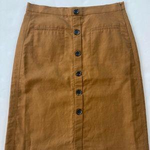 ANN TAYLOR A-line button accent skirt